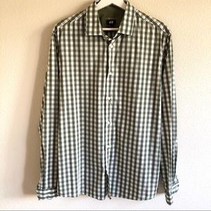 H&M Olive Gingham Button Up Shirt